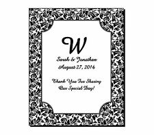 24 Personalized Rectangle Glossy Damask Wedding Wine Favor Labels Stickers 4x5""