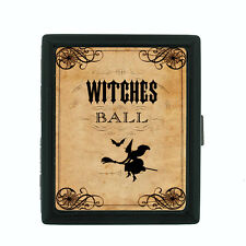 Vintage Halloween D23 Regular Black Cigarette Case / Metal Wallet Old Fashioned
