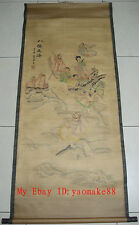 Rare antique chinese museum painting scroll EIGHT IMMORTALS CROSSING THE SEA唐寅