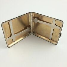 Antique Heavy Sterling Silver Cigarette Case With Gold Washed Interior Mono