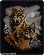 """NEW TWO 2 WOLVES WOLF QUEEN SIZE 79"""" X 96"""" SOFT MEDIUM WEIGHT BED SPREAD BLANKET"""