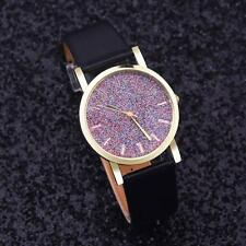 Women Wristwatch Leather Stainless Steel Colorful Dial Analog Quartz Wrist Watch