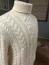 Polo Ralph Lauren 100% Cashmere Hand Knit Cream Turtleneck Sweater XL
