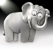 JJ VINTAGE ELEPHANT WITH GOOGLY EYES ARTICULATED HEAD PEWTER BROOCH