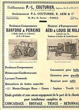 PARIS ETS COUTURIER AEBI  ROULEAUX COMPRESSEURS, STE SERI GRUES PUBLICITE 1931