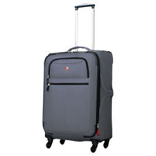 """SwissGear Travel Gear 24"""" Upright Spinner - Charcoal Softside Checked NEW"""