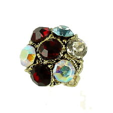 VINTAGE 1960's KNUCKLE BUSTER GIANT RHINESTONE RING ADJ 8-10.5 OUTRAGEOUS FUN