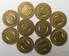 Lot of 10 City of Terre Haute (Indiana) transit tokens - In890F
