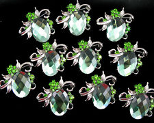 Wholesale 10x Crystal Rhinestone Brooch Pins Wedding Bridal Bouquet Decor Green