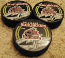 LOT OF 3 COLUMBUS BLUE JACKETS HOCKEY PUCKS NEW GREAT TO GET SIGNED AUTOGRAPHED