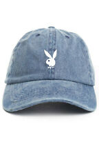 PLAYBOY BUNNY CUSTOM UNSTRUCTURED DENIM WASH DAD CAP HAT NEW
