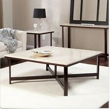 Contemporary Coffee Table Modern Cocktail Accent Square IVORY Faux Travertine