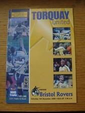 09/12/2000 Torquay United v Bristol Rovers [LDV Vans Trophy] . Item In very good