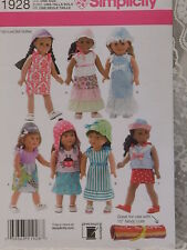 "Uncut Simplicity Pattern 1928 Doll Clothes Patterns for 18"" Size Girl Dolls"