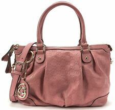 GUCCI Authentic Pink GG Guccissima Leather Sukey Satchel Handbag