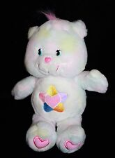 "Care Bears TRUE HEART Bear 13"" Talks Pastel Tie Dye Plush Stuffed Soft Toy 2004"