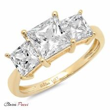 3.0 CT Three Stone Princess Cut Ring Engagement Wedding Band 14K Yellow Gold