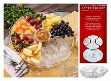 "Acrylic APPETIZER on ICE 12 pc Serving Plate Platter Tray with Lids 16.5"" x 4.5"""