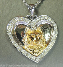 """I Love My Sheltie"" Heart Pendant STERLING SILVER 0.925 18 Necklace"
