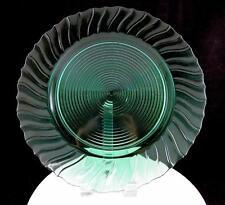"""JEANNETTE GLASS SWIRL ULTRA MARINE GREEN 13"""" SANDWICH PLATE 1937-1938"""