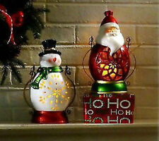 S/2 Home Reflections Santa and Snowman Luminary Lanterns with Flameless Candles