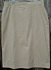Calvin Klein Beige/Black Tattersall Plaid Straight Skirt-Cotton/Nylon/Lycra-6