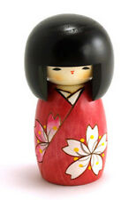 "Japanese Creative KOKESHI Wooden Doll Girl, 5-1/8""H Flower (Made in Japan)"