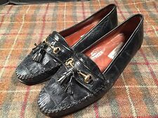 Belvedere Genuine Crocodile Black Loafer Shoes Italy Mens 10.5 M Used