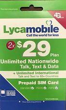 Lycamobile Preloaded $29X2 Months Unlimited Nationwide Talk,Text & Data 3in1 SIM