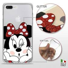 IPHONE 7 PLUS TPU COVER PROTETTIVA GEL TRASPARENTE GLITTER DISNEY MINNIE MOUSE