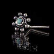 Plata para nariz ópalo plata esterlina, Pin de nariz de flor, plata Opalita (código 31)