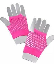 Ladies Neon Pink 1980's Fishnet Short Fingerless Women Fancy Dress Gloves