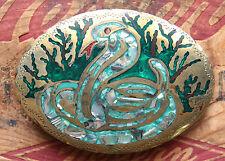 Vtg J. Tedder  Hand Made Snake Cobra Coral Abalone Inlay Western Belt Buckle