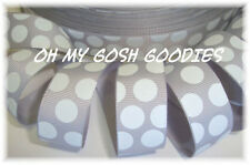 7/8 GRAY GREY WHITE PRINCESS CLASSIC JUMBO DOTS GROSGRAIN RIBBON 4 HAIRBOW BOW