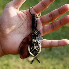 Cool Punk PU Leather Vintage Skull Keychain Pirate Key Ring Chain Keyfob Keyring