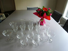 Vintage 70s  Set of 17 Clear Cut Glasses Pinwhell Pattern Glassware from Sears