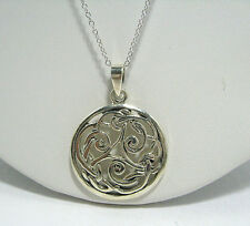 "Women's Solid 925 Sterling Silver Irish Knot Pendant & Chain Necklace 18"" Long"