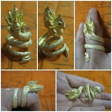 Thai Gold Plated Brass Naga Amulet Ring with Seven Heads Greatness A1-A