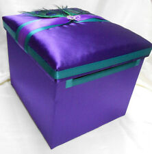 Wedding Reception Peacock Feather Purple Turquoise Gift Card Money Box Ur Colors