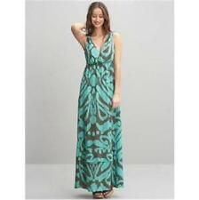 Banana Republic Silk Printed  Ruffled Hem Maxi Long Dress Turquoise Brown 2 $150