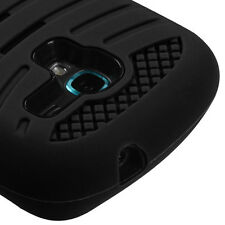 for Samsung Galaxy Exhibit 4G T599 Black Kickstand Hard & Soft Rubber Armor Case