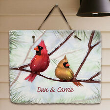 Personalized Christmas Family Name Sign Winter Welcome Sign Cardinals Slate Sign