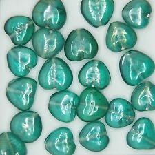 Glass Beads Green Luster Heart 10mm. Pack of 20. Made in India.