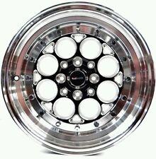 SET OF 2 RIMS BLACK REVOLVER 15X8 4X100/114.3 20 OFFSET BMW HONDA TOYOTA MAZDA
