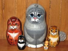 Russian HAND PAINTED ART small NESTING Doll 5 GREY Tabby Ginger Black Cat Kitten