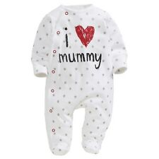 UK Seller baby clothes I love Mummy boys girls rompers Playsuit Sleepsuit 0-3M