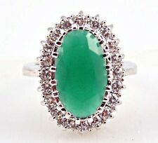 Noble Emerald & white Topaz Gemstones Silver Ring Size 8
