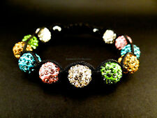 10mm Shamballa bracelet multicolored fancy rhinestone with hematite + gift bag