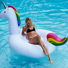 Giant Inflatable Unicorn Swim Ring Rainbow Swimming Pool Water Float Raft Gift