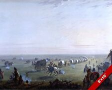 AMERICAN PIONEER WAGON TRAIN HEADING WEST PAINTING ART REAL CANVAS PRINT
